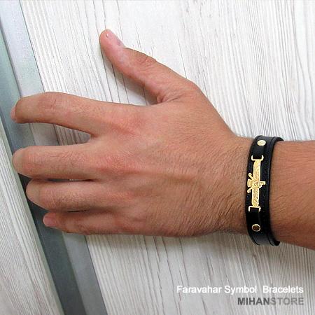 خرید دستبند چرم طرح فروهر